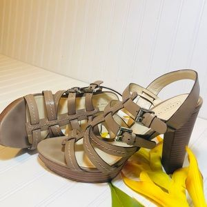 Coach leather heel sandals.